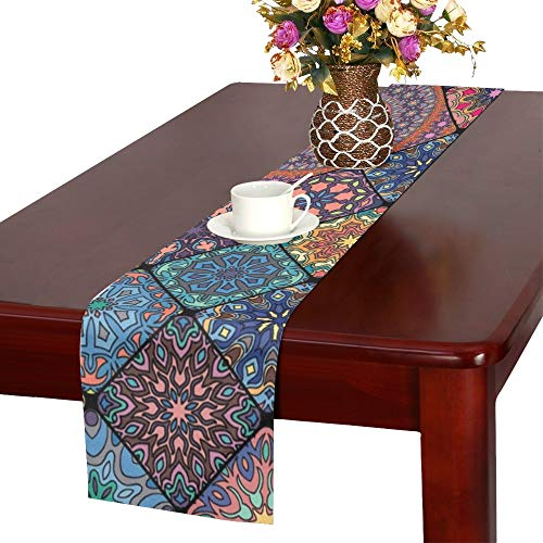 - WHIOFE Colorful Vintage Floral Mandala Table Runner, Kitchen Dining Table Runner 16 X 72 Inch for Dinner Parties, Events, Decor