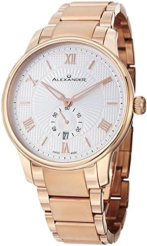 Alexander Statesman Regalia Men s Silver Dial Rose Gold Plated Swiss Made Watch A102B-04