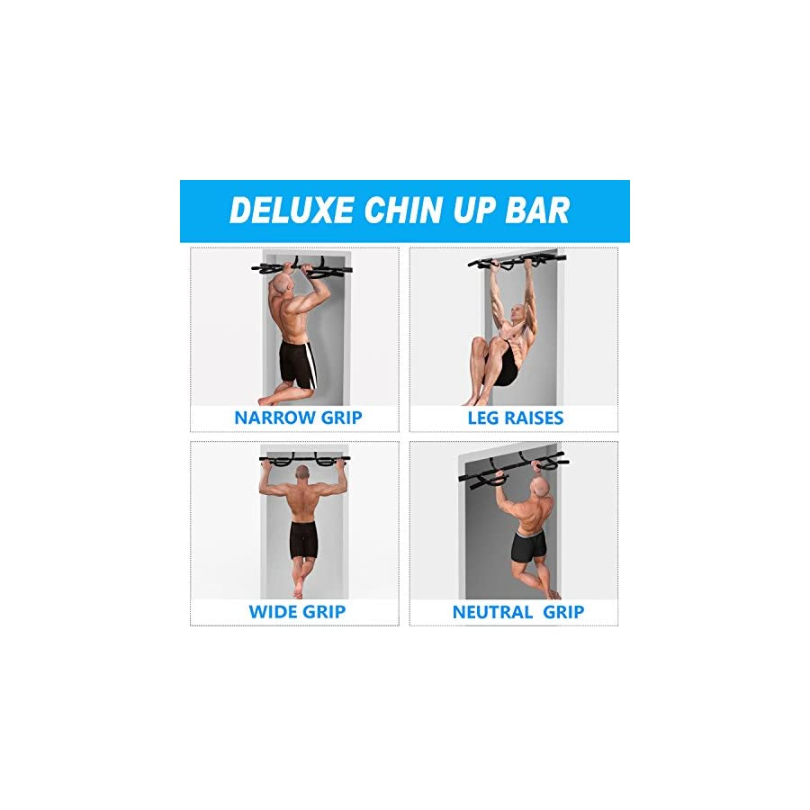 Yes4All Deluxe Chin Up Bar with New Version – Support to 300 lbs, 28 – 37 inch Fit Doorway