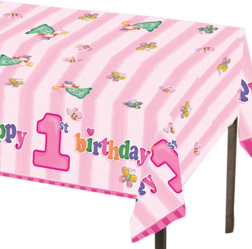 Plastic Table Cover, Fun at One Happy First Birthday Girl