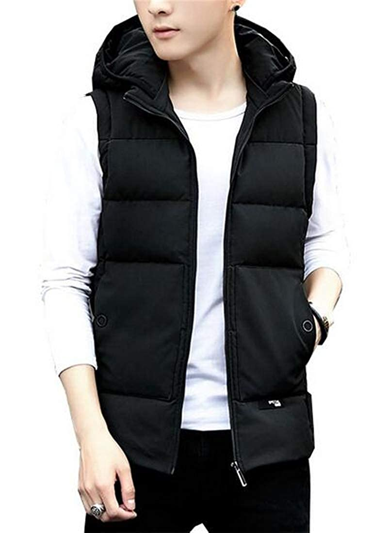 Black FRPE Men Winter Warm Quilted Sleeveless Hoodie Zip Front Slim Fit Down Vest