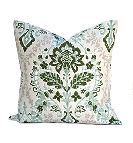 (One Floral pillow covers, Home decor, decorative pillow, throw pillow, Green pillow, Sage Pillow, hunters green pillow, Geometric Pillow, Floral Sage Pillow, Dark Green Pillow)