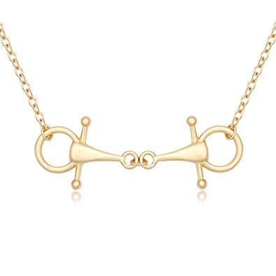 d4f402c2a Amazon.com: MANZHEN Snaffle Bit Necklace for Horse Lover Equestrian Jewelry  (Gold): Jewelry
