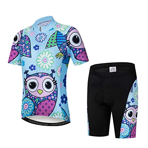 Cycling Jersey Kids,Short Sleeve Cartoon Road Mountain Bike Jersey Set/Top/Short for Girls Boys Breathable Light Blue