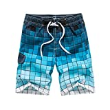 FarJing Men's Fashion Casual Grid Printing Patchwork Beach Surfing Swimming Loose Short Pants