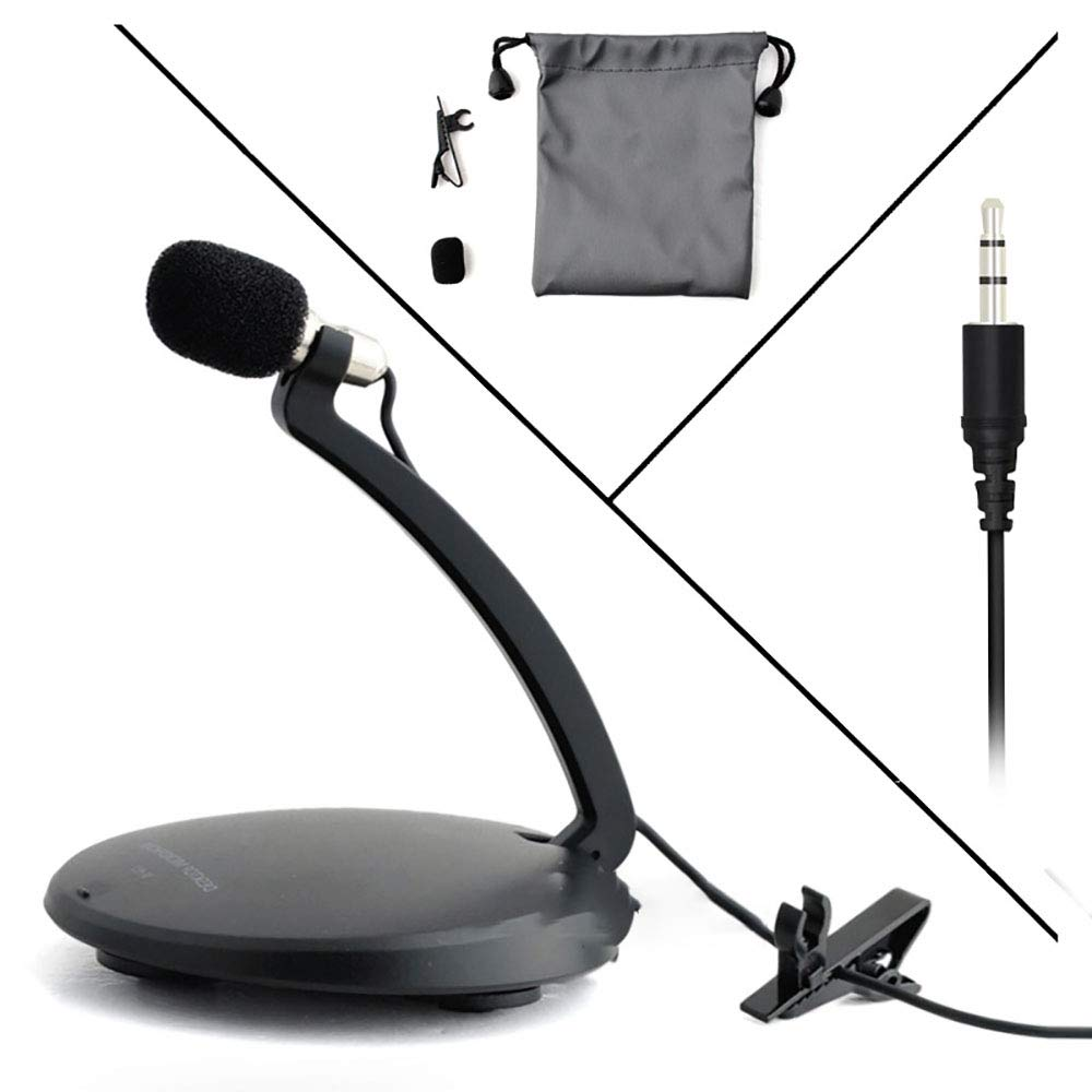 ZYG.GG Desktop Voice Microphone, Lavalier Microphone, Large Circular Base, Flexible Microphone Neck, Easy Installation, 3.5Mm Jack, 1.5 Metres Cable, Black