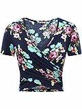 KIRA Summer Crop Top, Women's Deep V Neck Short Sleeve Summer Floral Crop Tops