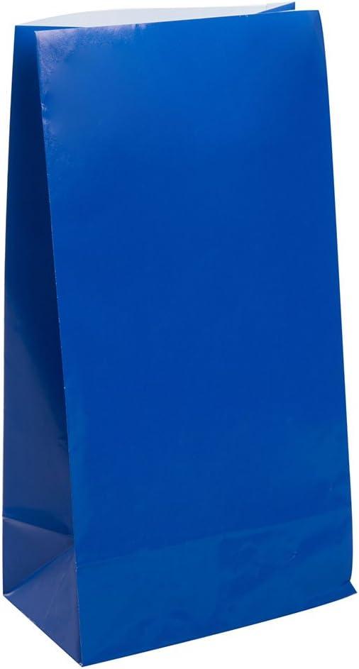 Unique Party-Paquete de 12 bolsas de regalo de papel, color azul rey, (59004)