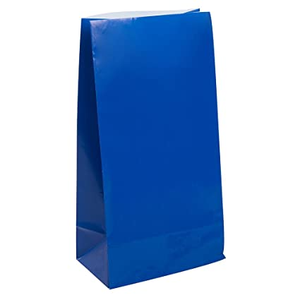 Unique Party- Paquete de 12 bolsas de regalo de papel, Color azul rey, 59004)