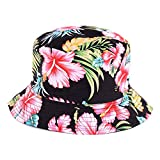 BYOS Fashion Cotton Unisex Summer Printed Bucket Sun Hat Cap, Various Patterns Available (Vintage Flower Black)