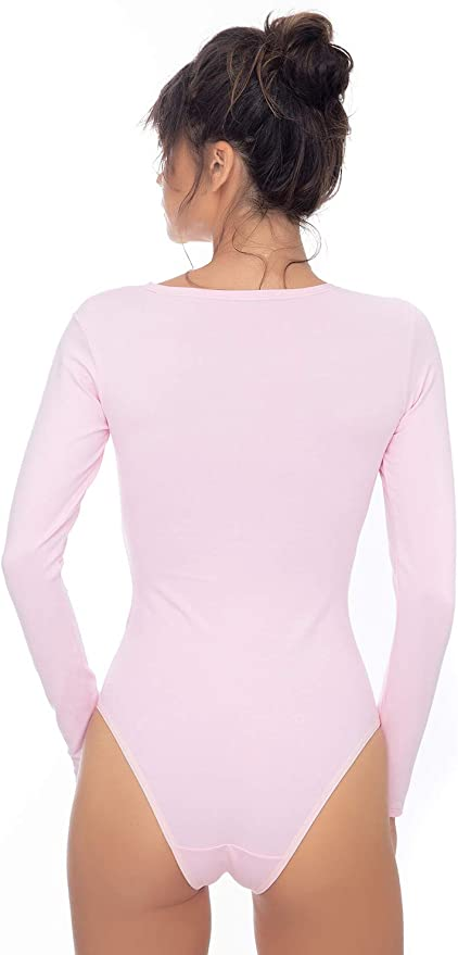 Langarm Shirt Damen Langarm Body Ballett Trikot mit Verschluss Gymnastikanzug mit Rundhals Frauen Eleganter Bodysuit f/ür Sport/&Freizeit Evoni Damen Body