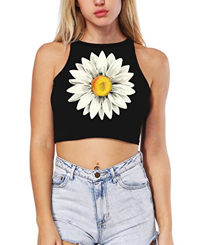 - Prettyard Women Girl Cute Daisy Print Flower Floral Black Crop Top Tank Tops Vest - OneSize fit Women:US:XS(0-2)/S(4-6); Cute