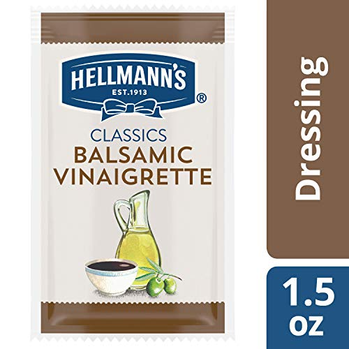 Hellmann's Classics Balsamic Vinaigrette Salad Dressing Portion Control Sachets Gluten Free, No Artificial Flavors or High Fructose Corn Syrup, Colors from Natural Sources, 1.5 oz, Pack of 102