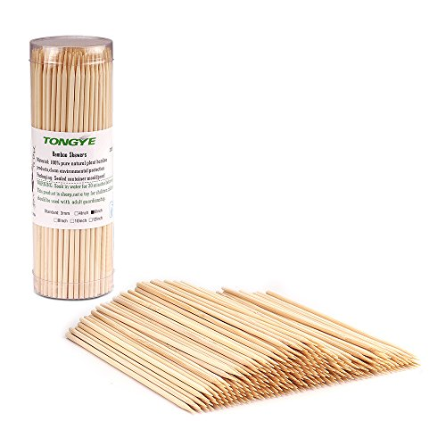 "TONGYE Premium Natural BBQ Bamboo Skewers Shish Kabob, Grill, Appetizer, Fruit, Corn, Chocolate Fountain, Cocktail More Food, More Size Choices 4""/6""/8""/10""/12""(200 PCS)"