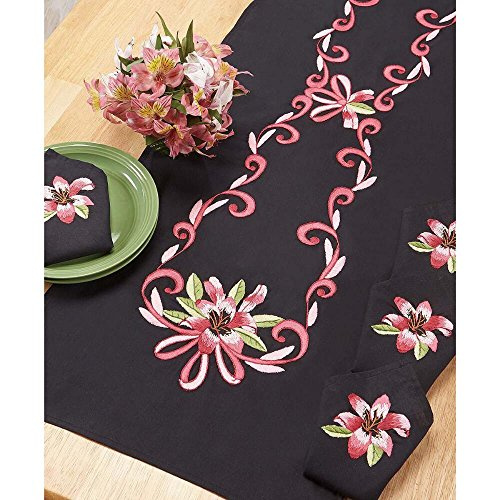 (Nob Hill Fuchsia Tiger Lilies Table Runner Stamped Embroidery )