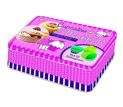 Cupcakes & Muffins: Deko-Box aus Metall mit 50 farbigen Rezeptkarten, 1 Übersichtskarte inklusive Tipps und 12 Silikonbackförmchen: 50 köstliche Rezepte auf praktischen Karten