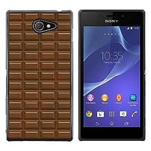Barra de chocolate del patrón de Brown dulce - Metal de aluminio y de plástico duro Caja del teléfono - Negro - Sony Xperia M2