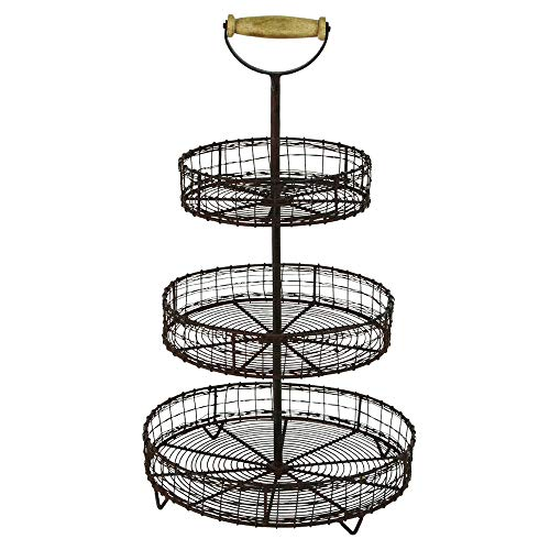 LungMongKol Shop Metal Wire 3 Tier Rack | Display Stand Spice Basket Rustic Farmhouse Country Tray for Storage Fruits, Vegetables, Cooking Supplies, Bathroom Toiletries | with Wooden Handle