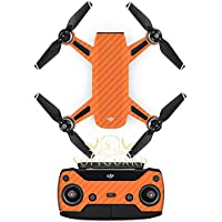 SopiGuard Orange Carbon Fiber Precision Edge-to-Edge Coverage Vinyl Sticker Skin Controller 3 x Battery Wraps for DJI Spark