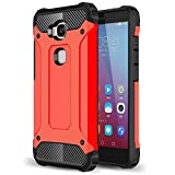 For Honor 5X Case - ANGELLA-M Rugged Hybrid Hard Shockproof Case for Huawei GR5 /Honor X5 Slim Heavy Duty Protective Shell - Red