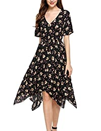 Meaneor Women's Boho Floral Print Deep V Neck Casual Hem Tunic Dress Midi Dress