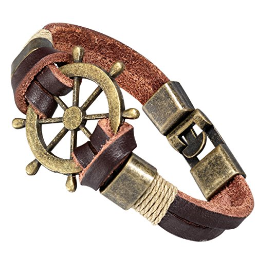 Flongo Retro Bronze Helm Men's Leather Wrap Bracelet, Best Gift, 8 inch Chain