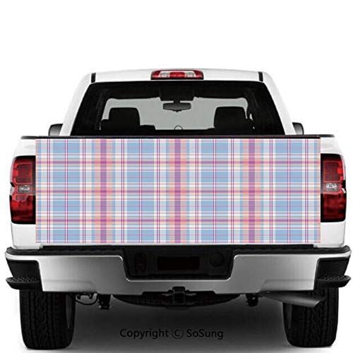 - Pastel Vinyl Wall Stickers,Old Fashioned Retro Style Classical Geometric Striped Plaid Inspired Decorative Cars Trucks Decorative Decal Sticker,60x20 Inches,Fuchsia Salmon Light Blue