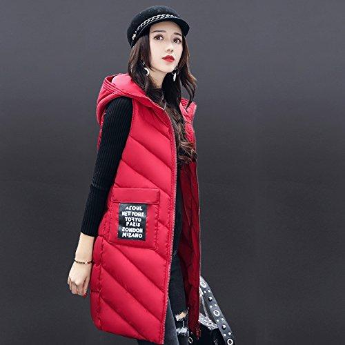 COAT Solid Medium Coat Jacket Thicken FYM DYF Zipper Down Red Pocket XL Color Vest Length dq1P4w