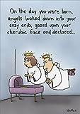 Angels at Crib Funny Birthday Card