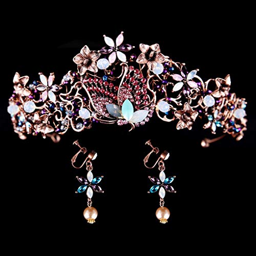 Yalice Baroque Style Bride Rhinestone Wedding Crown Tiara Purple Crystal Bridal Headband Hair Accessories Jewelry Sets for Women and ()