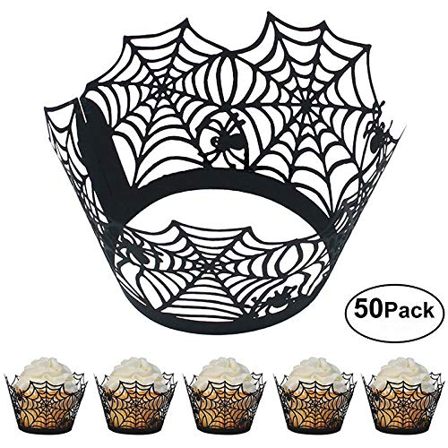 Cupcake Wrappers 50pcs/pack Halloween/Christmas Party Cupcake Liners Laser cut Cupcake Papers cups Muffin cups for Wedding/Birthday Party Decoration (Spider -
