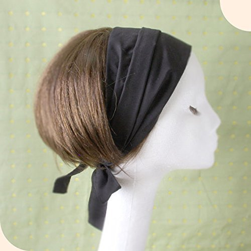 Cotton Solid color Hair scarf, Solid Black, chef, scarf for cooking, Bech, Cooking, Head wrap. Headband by Mercato
