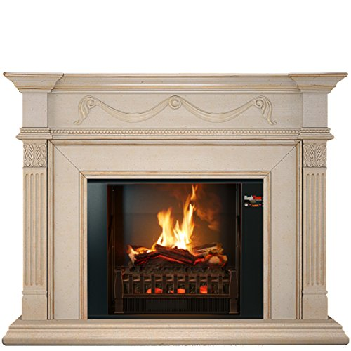 MOST REALISTIC Electric Fireplace on Amazon! 26 Flames Sampled From REAL Fires w/Sound! Includes Decorative Antique Ivory Wall Mantel, Touch-Screen, Bluetooth App, ()