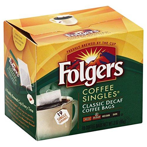 Folgers Classic Roast Decaffeinated Coffee Singles (Medium), 19 ct, 3 oz