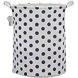 """Sea Team 19.7"""" Large Sized Waterproof Coating Ramie Cotton Fabric Folding Laundry Hamper Bucket Cylindric Burlap Canvas Storage Basket with Stylish Blue Polka Dot Design"""