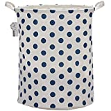 Sea Team 19.7'' Large Sized Waterproof Coating Ramie Cotton Fabric Folding Laundry Hamper Bucket Cylindric Burlap Canvas Storage Basket with Stylish Blue Polka Dot Design