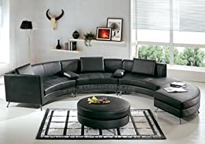 Contemporary Furniture Black Leather Curved Sectional Sofa With Ottoman And Mini Bar