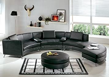 Amazon.com: Contemporary Furniture Black Leather Curved ...