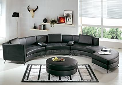 Amazon.com: Contemporary Furniture Black Leather Curved Sectional ...