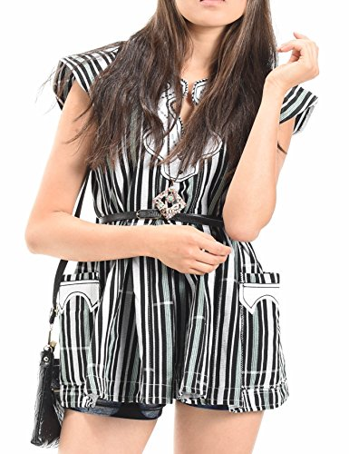 African Print Ladies Flair Top | Kente Dashiki Green, Black and White Striped Handmade Fabric (Medium)