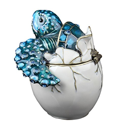 (Waltz&F Trinket Box Collectible Turtle Figurines Hatching Baby Turtle From an Egg Metal Jewelry Box Hatching Egg)