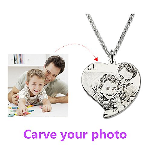 Couple jewelry Personalized Heart Photo Necklace Silver Engrave Picture Necklace Dog Tag Necklace Photo Gifts for Lover Valentine's Day(Siver Sketch engraving 20)