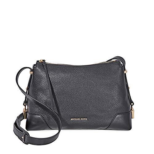 Michael Kors Crosby Medium Pebbled Leather Messenger Bag- Black (Michael Kors Uk)