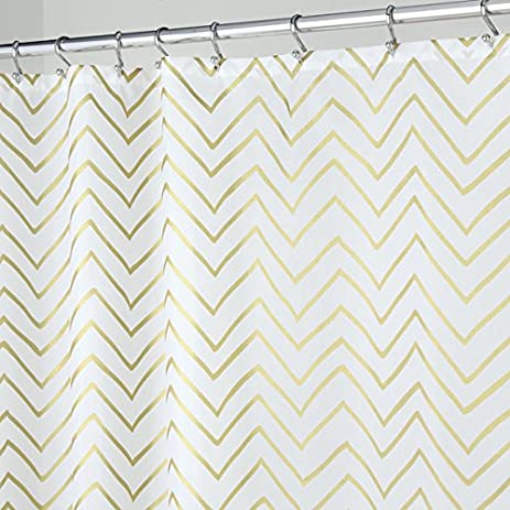 MDesign Sketched Chevron Soft Fabric Shower Curtain   Long, 72u0026quot; ...
