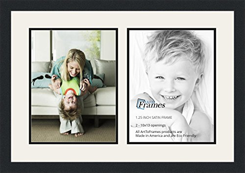 ArtToFrames Double-Multimat-1416-61/89-FRBW26079 Collage Photo Frame Double Mat with 2-10x13 Openings and Satin Black Frame, Super White, 2-10x13