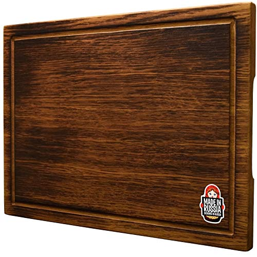 Large Oak Wood Cutting Board by RWood - 16х12 Organic Antibacterial Hardwood Chopping and Carving Countertop Block with Juice Drip Groove for Kitchen ()