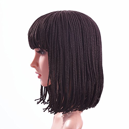 Beauty : Braided Wigs for Women Brown Short Bob Wigs with Bangs Braid Synthetic Hair Halloween Wig with Wig Cap ( 12 inch ) Z078BR