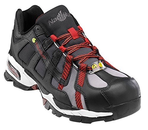 Nautilus 1317 ESD No Exposed Metal Safety Toe Athletic Shoe,Black/Silver/Red,15 W
