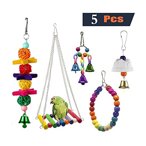 PINCHUANG 5 Pack Bird Chewing Toy, Bird Hanging Bell Toy Pet Parrot Hammock Swing for Small Medium Birds from PINCHUANG