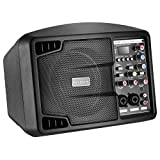Neewer Stereo Speaker Small PA Speaker Monitor with Remote Control, 3 Channel Mixer, 2 Band EQ, Powerful Compact Active Speaker System Amp with Mixer, Lightweight and Portable, Black (NW-PSM05R)